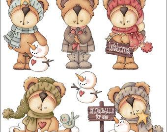 Cozy Bears - Clip Art Designs Graphics Illustrations Doodles Artwork Instant Digital Download, Commercial Use Allowed