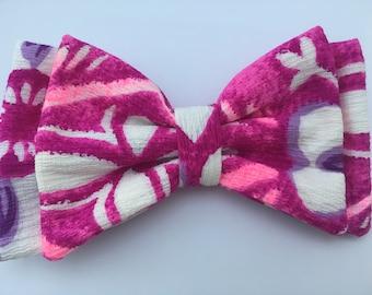 Bright Pink Tiki Bow  READY TO SHIP