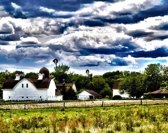 Colorful Photograph of Midwest Countryside with Barns