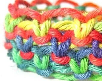 Rainbow Hemp Wide Bracelet - Made to Order
