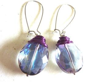 Purple Blue Crystal Copper Wire Wrapped Drop Earrings