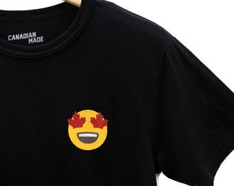 Maple Leaf Eyes Emoji Bamboo T-Shirt - Black