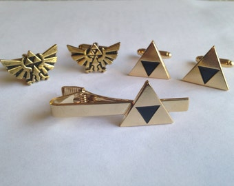 The Legend Of Zelda Cufflinks And Tie Clip Set Triforce Hyrule Crest