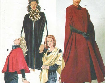 90s Simplicity Sewing Pattern 7438 Womens Capes & Wrap Size 6 8 10 12 14 16 Bust 30 1/2 to 38 FF Steampunk Cape Opera Cape Full Length Cape