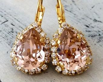 Blush earrings,drop earrings,blush pink bridal earring,blush pink bridesmaids earrings,Blush pink dangle earrings,Swarovski crystal earrings