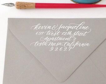 Custom Calligraphy Return Address Stamp - Modern Script Style