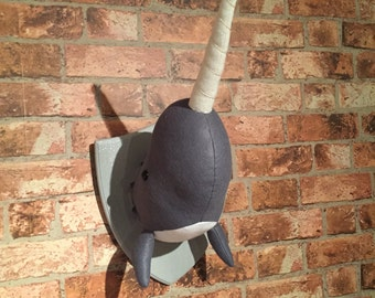 Handmade Faux Taxidermy Narwhal- Wall Mounted - Nautical Theme Bedroom