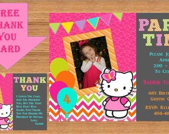 Hello Kitty Birthday Invitation. Custom Design, personalized Hello Kitty Birthday Cards, Printable Invitation, Product# Hello Kitty 0008
