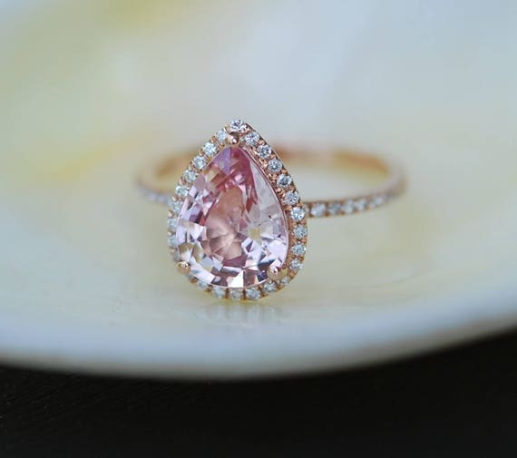 Engagement Ring Peach champagne Sapphire Engagement Ring 14k Rose Gold 2.49ct, Pear Peach. Sapphire Ring. Engagement ring