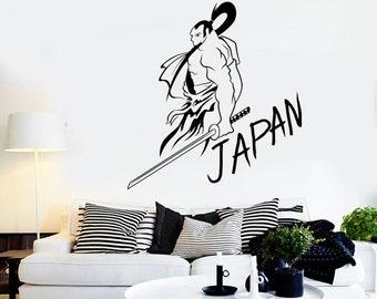 Wall Vinyl Samurai Japan Warrior Sword Cool Decal Mural Art 1623dz