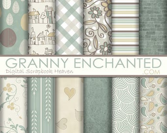 Soft Scape: 12 Digital Papers– in Soft Taupe, Brown, Gold, and Green Scrapbook Patterns (A-002p)