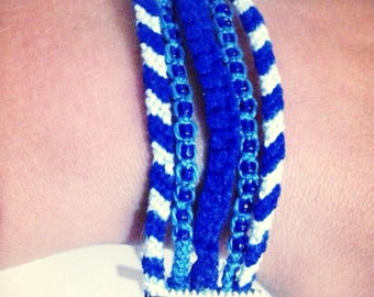 Navy cuff, cotton macrame bracelet