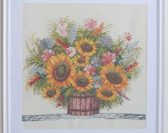 Sunflowers in basket cross stitch embroidered framed picture painting