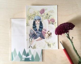 A6 Art Print Note Card | Blue Swallow
