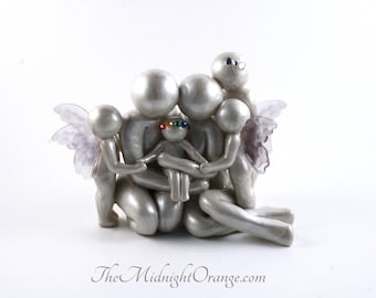Family of Six sculpture with adolescent twins, rainbow baby and big sibling - handmade gift for child loss memorial - made to order