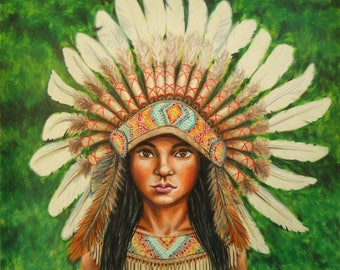 American Indian Drawing - Warbonnet - Indian Headdress - Warbonnet art - Headdress art - Native artwork - Native American headdress - Art