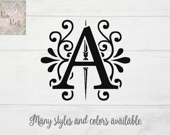 Fancy Monogram Letter Decal, Monogram Decal, Letter Wall Decal, Monogram Wall Decal, Initial Decal, Flourished Monogram, Elegant Monogram