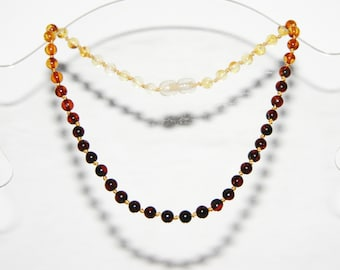 Rainbow color round beads Baltic amber teething necklace for your baby 11v