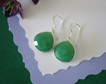 Green Teardrop Earrings Gold, or Sterling Silver, Chalcedony, Bright Earrings,  Small, Tear Drop Gemstone, Heart Shape