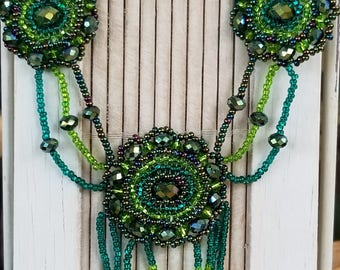 3 medalion green , teal, deep grape,beaded necklace
