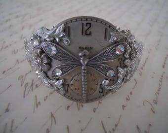 Antique Silver Steampunk Pocket Watch Face Dragonfly Crystals Bracelet Bangle