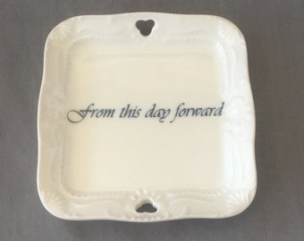"""Versatile Vintage Square Miniature Ring Dish - """"from this day forward"""""""