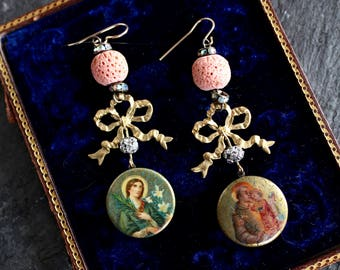 Antique Religious Icon brooch Earrings gold highlights Blue  bows Catholic Devotional Mary mother Joseph Jesus spiritual jewelry Holy Family