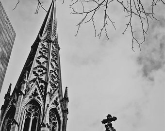 Fine Art Photography,Saint Patrick's Cathedral New York City- multiple Sizes Available-Architecture-Church-Black and White-Cityscape-