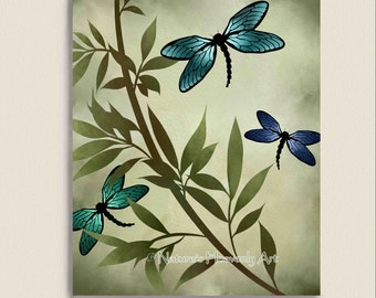 Blue Dragonfly Wall Print, Customizable 8 x 10 Print, Earthy Colors, Watercolor Art, Green Nature Decor (82)