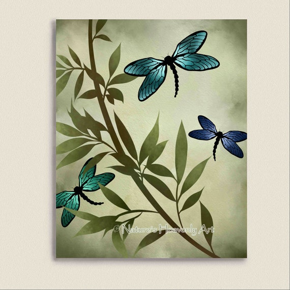 Good Blue Dragonfly Wall Print Customizable 8 X 10 Print Earthy