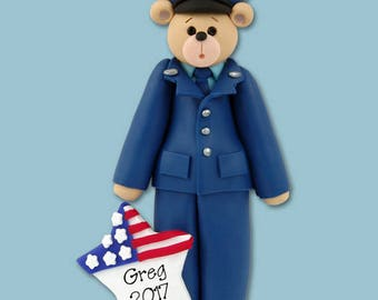 Airforce Belly Bear / Handmade Polymer Clay Ornament - Personalized Christmas Ornament - Limited Edition