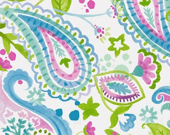 Orchid Painted Paisley Organic Fabric - By The Yard - Girl / Modern