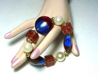"""Chunky Bracelet """"Blue Jean Baby"""" Patriot Candy Candy 30mm Lampwork Foil, Murano Glass Beads Gold Tone Accents STRETCH karinascottage"""