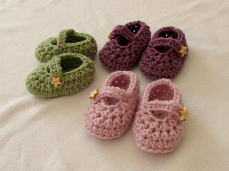 Crochet Baby Mary Jane Shoes / Booties Written Pattern