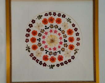 Pressed flower mandala art