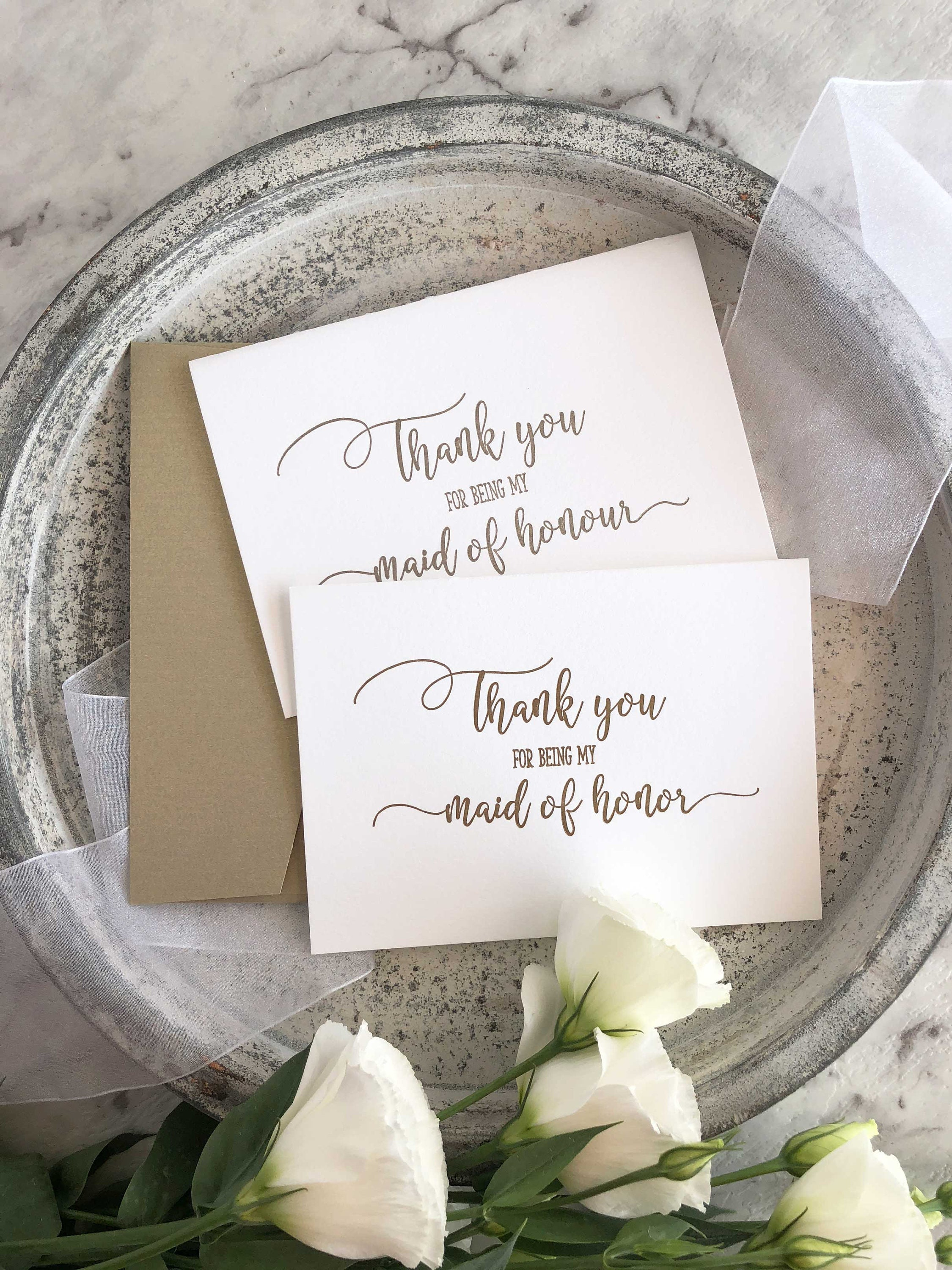 Maid of Honor Gift Maid of Honour Thank You Card Bridesmaid