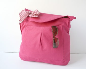 Fuchsia Cotton Fabric Messenger  Bag  Pink and White Gingham  Bow Adjustable strap Mothers Day gift