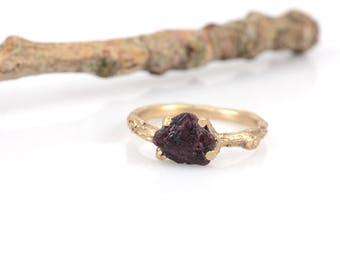 Rough Ruby and Yellow Gold Twig Engagement Ring - Nature Inspired Engagement Ring - One of a Kind Branch Ring - Recycled Yellow Gold
