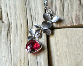 Orchid Necklace with Glass Pendant