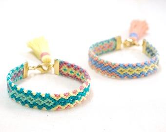 Braided Bracelet, Woven Friendship Bracelet, Colorful Tassel Bracelet for Women, Woven Festival Bracelet, Pastel Bracelet Gift for Her