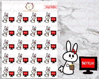 Netflix Binge, Rosy the Bunny Stickers, Planner Stickers