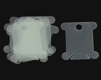 """Green Plastic Bobbin Spools 1.5"""" (10) #471"""