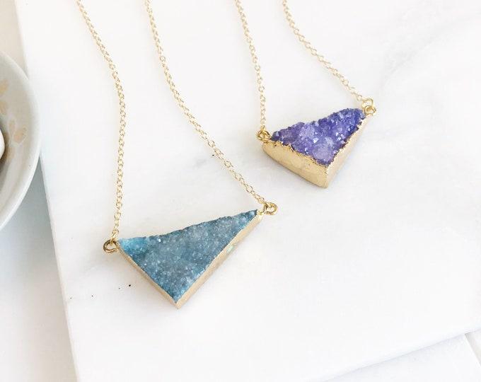 Druzy Necklace. Aqua Purple Pink Druzy Necklace. Pink Triangle Druzy Necklace. Crystal Pink Geode Necklace. Jewelry. Gift.
