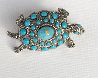 Vintage Costume Jewelry Turquoise Glass  Caboschons Jewellery Turtle Brooch  Figural Brooch