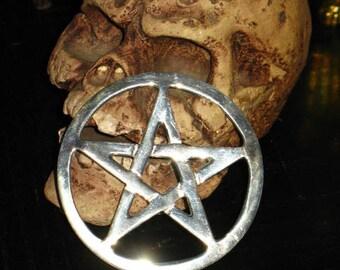 Extra Small Interwoven Chrome Pentacle Altar Tile~Pagan Home Decor