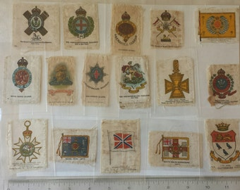Vintage tobacco silks cigarette silks tobacciana collectible lot of 16 military regimental coat of arms signal flags crests BOV cigarettes