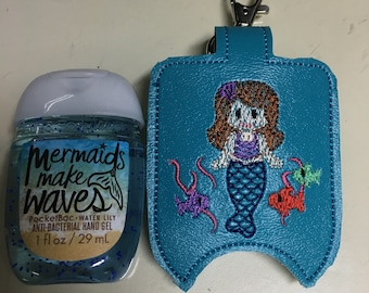 Mermaid Hand Sanitizer Holder Key Chain