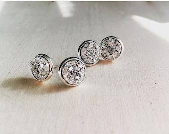 Druzy stud earrings, gold druzy earrings, druzy earrings, druzy, stud earrings