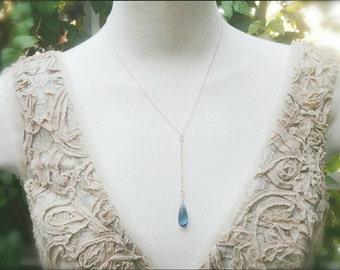 Gorgeous AAA London Blue Quartz Briolette Sterling Silver Necklace