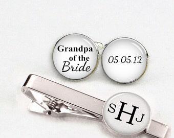 grandpa of the bride cuff links, custom personalized wedding cufflinks, round or square cufflinks & tie clips,custom name date photo initial